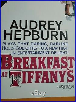 Vintage Movie Poster Breakfast at Tiffany's 1961 Audrey Hepburn Framed MINT