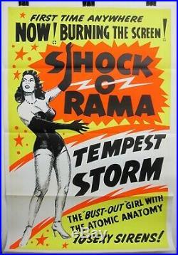 Vintage Orig 1955 SHOCK-O-RAMA Stripper TEMPEST STORM 1-Sheet Poster BURLESQUE