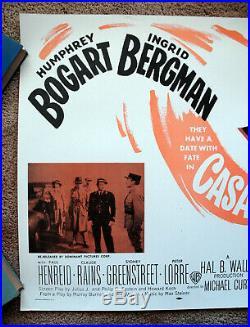 Vintage Original 1956 CASABLANCA Movie Poster Bogart Ingrid Bergman art film