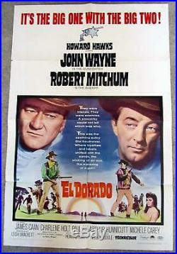 Vintage Original 1966 EL DORADO Movie Poster John Wayne, Robert Mitchum RARE