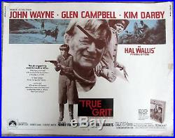 Vintage Original 1969 TRUE GRIT Movie Poster John Wayne, Glen Campbell RARE