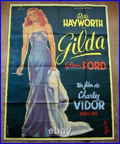 Vintage Original 1970s GILDA RITA HAYWORTH Movie Poster Film Noir Art 1sh
