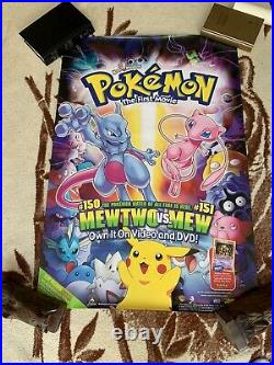 Vintage Pokemon Poster Lot The First Movie MewTwo + 2000 Lot Of 3 Posters 27x40