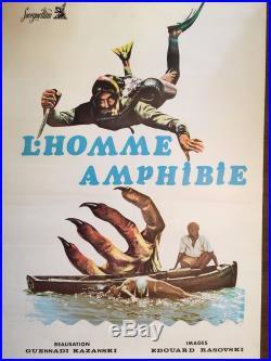 Vintage Russian Soviet Movie Poster Amphibian Man 1961 International Issue