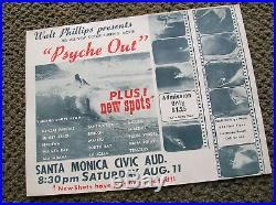 Vintage Surfer movie surf poster psyche out surfboard walt phillips longboard 60