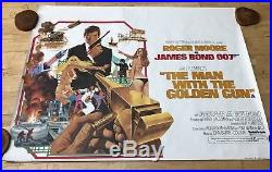Vintage THE MAN WITH THE GOLDEN GUN VG Rolled QUAD MOVIE POSTER Moore 007 Bond