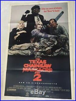Vintage The Texas Chainsaw Massacre Part 2 Movie Poster 1986 39 X 27
