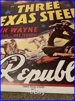 Vintage Three Texas Steers Western Movie 1937 Poster John Wayne 1930s Vtg