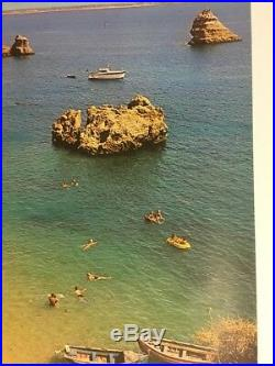 Vintage Travel Poster Pin-Up Portugal 70s Color Picture Photo Boats Beach Ocean