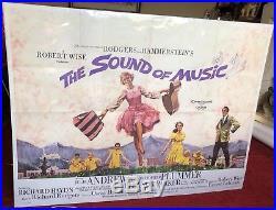 Vintage VG 1965 SOUND OF MUSIC Julie Andrews UK QUAD Cinema MOVIE POSTER 1960s