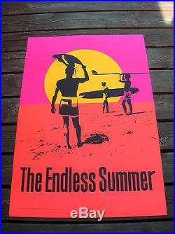Vintage endless summer surf movie poster surfboard 1965 silk screened 50 years