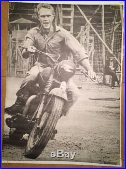 Vintage motorcycle movie memorabilia poster Steve Mcqueen Great Escape 1960's