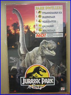 Vintage movie poster original Jurassic park Park Dwellers 1993 4355