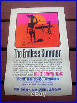 Vintage original endless summer surf movie poster surfing surfboard surfer 1965