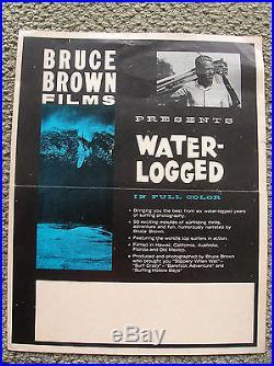 Vintage surf movie poster water logged surfboard surfing 1960 surfer bruce brown