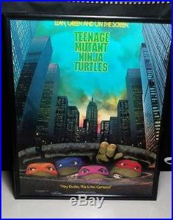 Vtg 1 Sheet Movie Poster Theater Promo TMNT Teenage Mutant Ninja Turtles C7