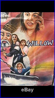 Vtg African Ghana Cinema Movie Flour Sack Painting Poster for 80s film WILLOW