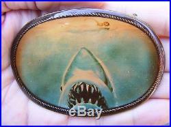 Vtg JAWS Belt Buckle 1975 Masterpiece Shark Movie Poster ART Brass RARE VG++