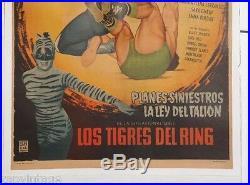 Vtg Mexican Movie Poster 1957 Secuestro Diabolico LUCHA LIBRE (Crox Alvarado)