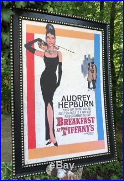 Vtg Movie Poster Breakfast at Tiffany's 1961 Audrey Hepburn Framed Original