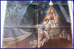 Vtg Original STAR WARS 1977 Style A 77/21 Folded 1-Sheet Movie Poster XLNT