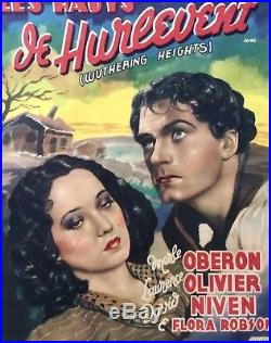 WITHERING HEIGHTS original vintage movie theater poster HITCHCOCK OLIVIER 1939