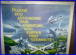 WORLD WITHOUT SUN/SCUBA DIVING orig large ROLLED movie poster JACQUES COUSTEAU